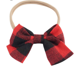 buffalo plaid baby bow headband nylon infant newborn headband