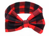 buffalo plaid baby girl headband bow outfit