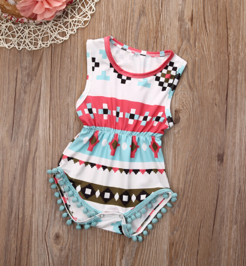 aztec baby pom pom romper baby girl outfit summer