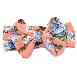 baby girl headband bow floral coral