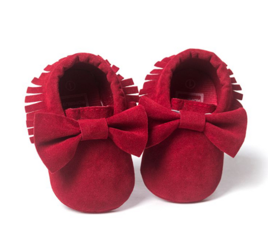 red baby moccasins suede leather