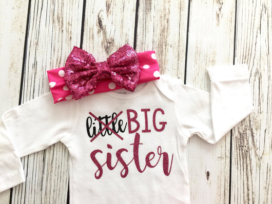 Little Big Sister Baby Girl Bodysuit Outfit For Pregnancy Announcement