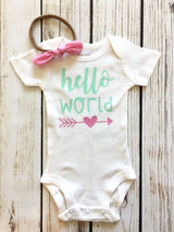 Hello World Mint and Pink Newborn Baby Bodysuit Outfit