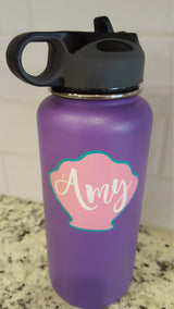 Layered Seashell with custom name vinyl decal for hydroflask,yeti,waterbottle