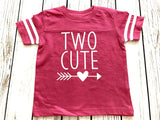 Two Cute Toddler Tee shirt for Second Birthday Pink & White