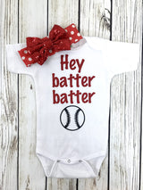 Hey Batter Batter Baby Girl Baseball Bodysuit