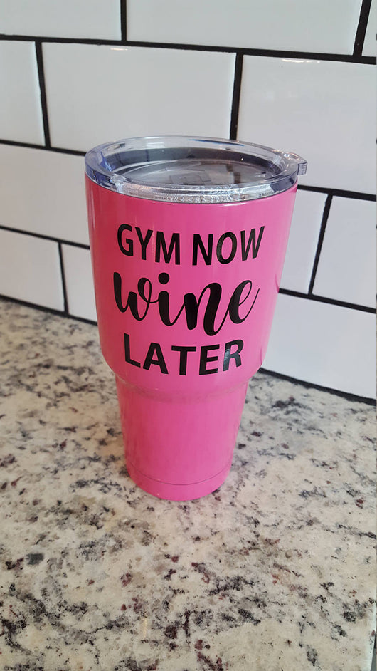 Gym Now Wine Later decal for Hydro Flask Water Bottle Yeti