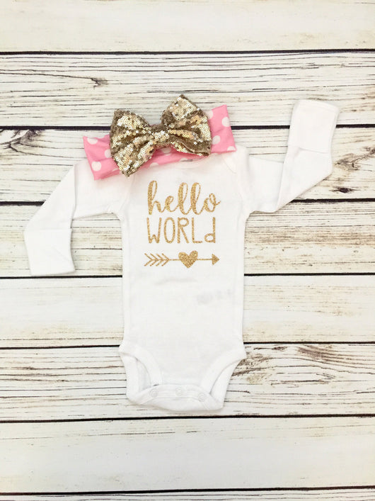 Hello World Gold Newborn Baby Bodysuit