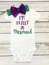 I'm Really A Mermaid Baby Girl Bodysuit Outfit