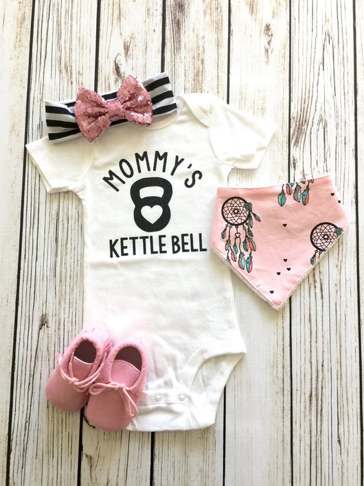 Mommy's Kettle Bell Baby Girl Bodysuit Outfit