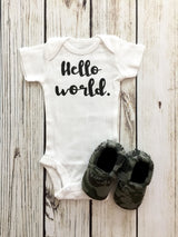 Hello World Newborn Baby Boy Bodysuit