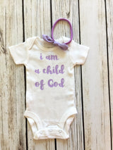 I Am A Child Of God Pastel Newborn Baby Girl Bodysuit Outfit