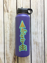 Layered custom name arrow vinyl decal for hydroflask,yeti,waterbottle