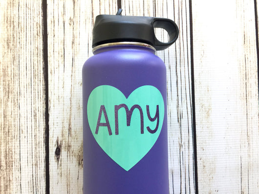 name decal hydro flask yeti water bottle