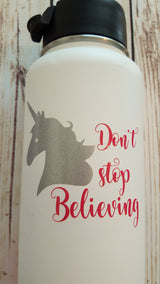 Unicorn Don't Stop Believing Decal Sticker For Hydro Flask Water Bottle Yeti Decal