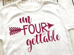5a07b61ee Un-FOUR-gettable Girls t-shirt for 4th Birthday Pink Glitter