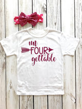 Un-FOUR-gettable Girls t-shirt for 4th Birthday Pink Glitter