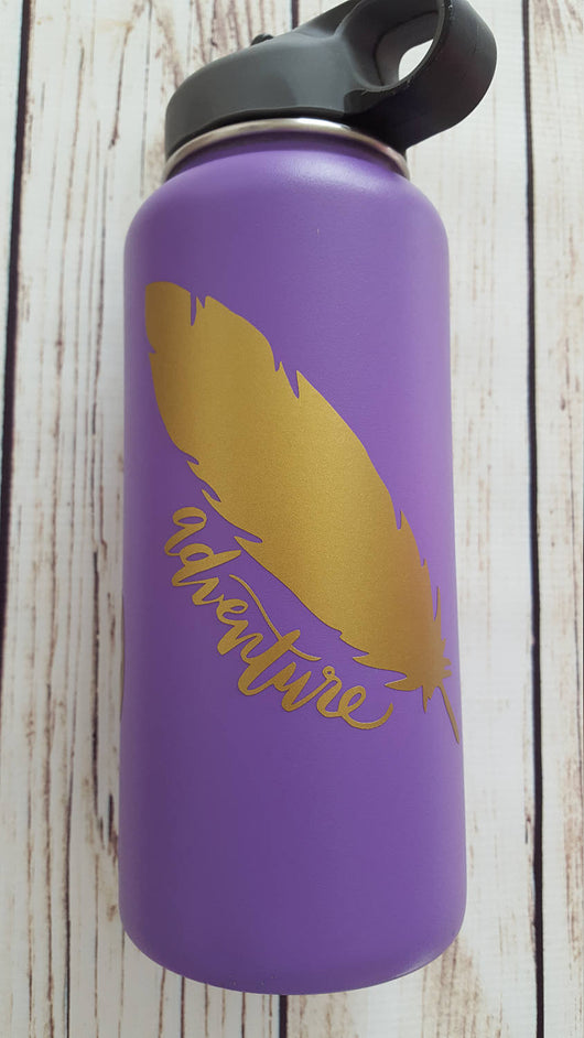 Adventure feather decal for Hydro Flask Water Bottle Yeti