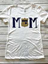 Police Mom Badge and Blue Line T-shirt