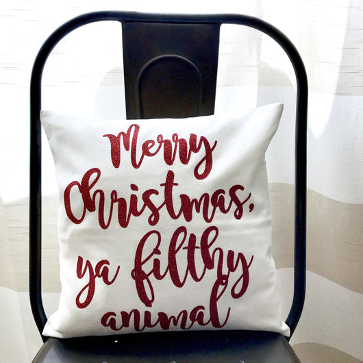 Merry Christmas Ya Filthy Animal Red Glitter Pillow Cover