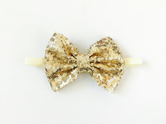 Gold Sequin Bow Headband for infants and toddlers