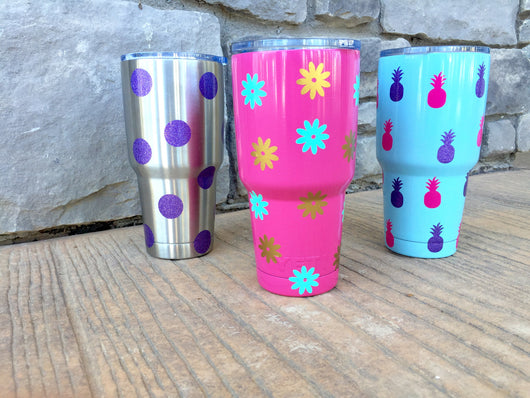Flower vinyl decal stickers for Flasks and tumblers
