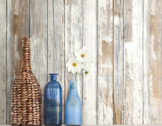 Wallplanks Wallpaper - Distressed Beige Wood Plank Peel and Stick Wallpaper 28.19 SF/ Roll - Wallplanks