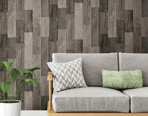 Wallplanks Wallpaper - Weathered Black Wood Plank Peel and Stick Wallpaper 28.19 SF/ Roll - Wallplanks