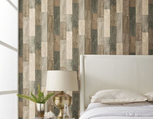 Wallplanks Wallpaper - Weathered Rustic Wood Plank and Stick Wallpaper 28.19 SF/Roll - Wallplanks