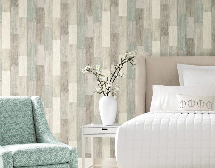 Wallplanks Wallpaper – Weathered Seaside Wood Plank Peel and Stick Wallpaper 28.19 SF/ Roll - Wallplanks