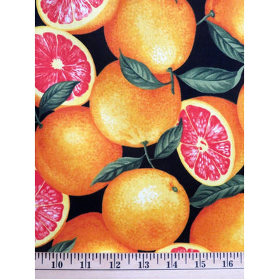 1 Yard ~ Grapefruit Fruit Food Black Timeless Treasures #1230 - Quilting & Sewing Fabric