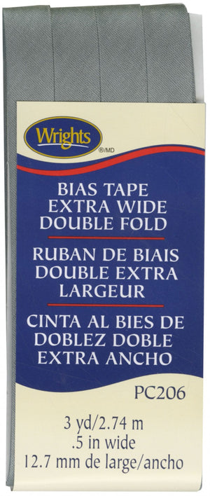 "Wrights Extra Wide Double Fold Bias Tape Grey 1/2"" 3YDS #4138"