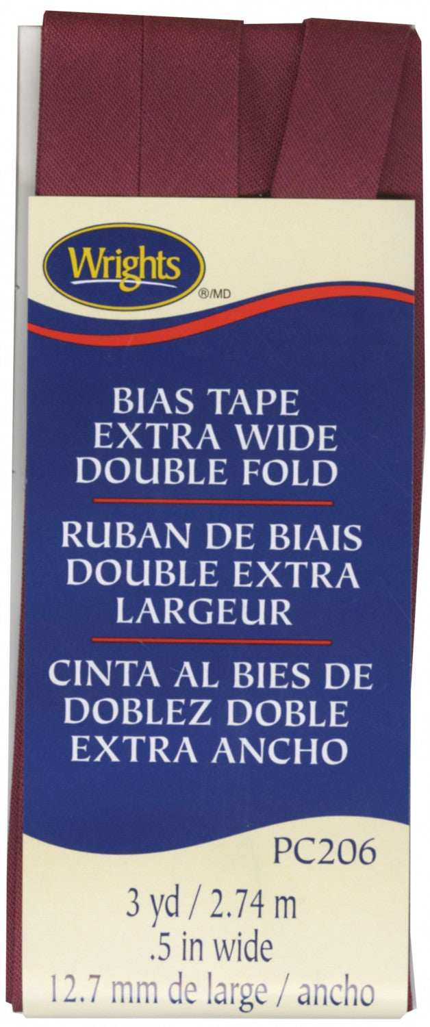 "Wrights Extra Wide Double Fold Bias Tape Berry 1/2"" 3 Yards #4191"