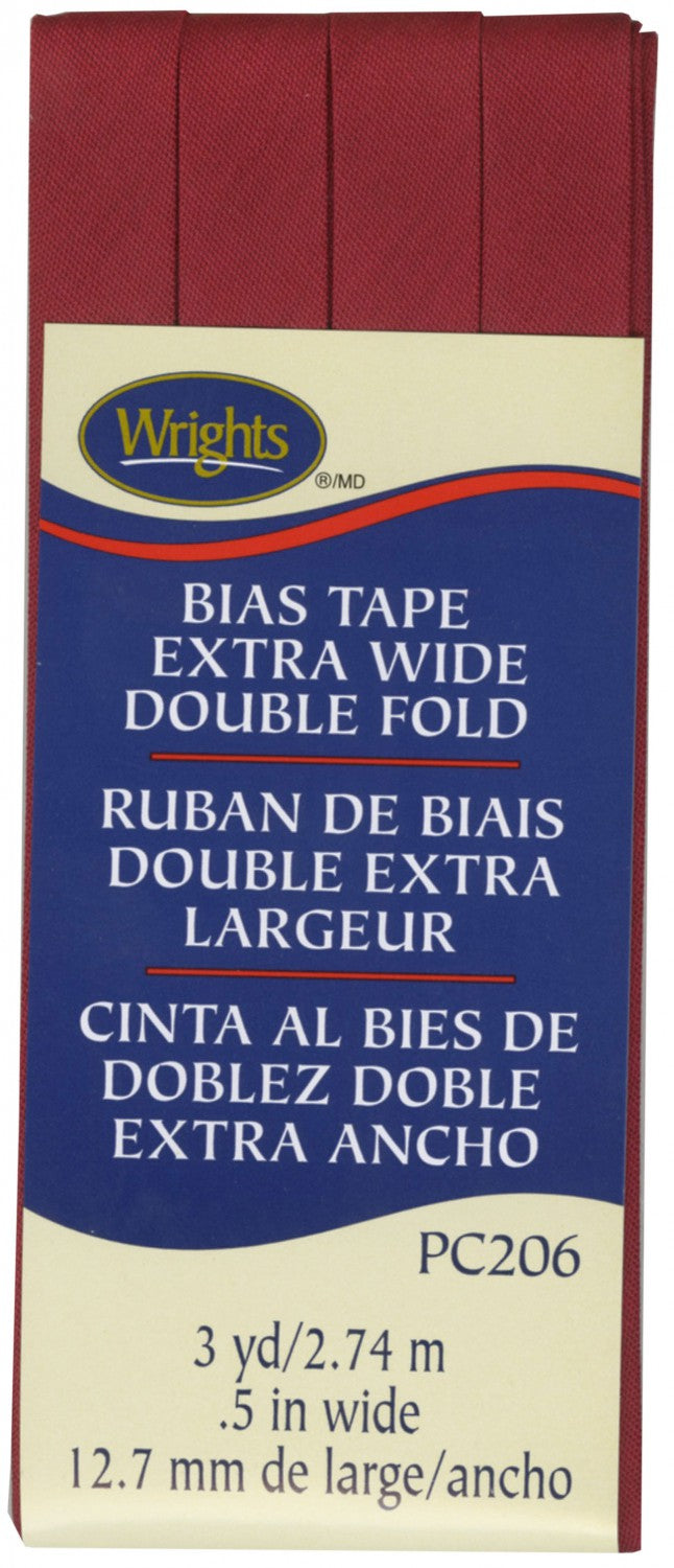"Wrights Extra Wide Double Fold Bias Tape Brick Red 1/2"" 3YD #4140"