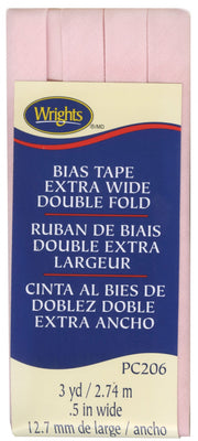Light Pink Wrights Extra Wide Double Fold Bias Tape 1/2