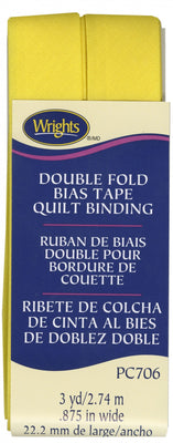 Wrights Double Fold Quilt Binding Canary Yellow 7/8