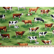 1/2 Yard Down on the Farm Animals Cows Green Grass Robert Kaufman #6281 - Quilting & Sewing Fabric