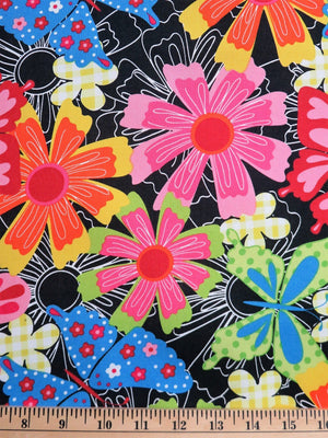 1/2 Yard Susie Floral & Butterflies Black Newcastle Fabrics #973 - Quilting & Sewing Fabric