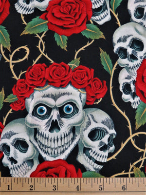24x44 The Rose Tattoo Black Skulls & Roses Alexander Henry #1861 - Quilting & Sewing Fabric