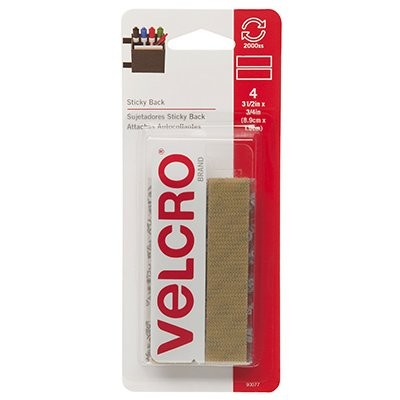 Velcro Sticky Back Strips Beige 4 sets  3 1/2