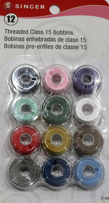 Singer 12 Class 15 Pre-Threaded Bobbins Assorted Colors #5904