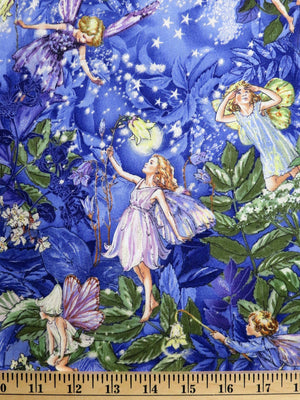 Night Fairies & Floral with Glitter Michael Miller Fabrics #2729