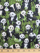 Green Stacked Panda's in Bamboo Fabri-Quilt #2927