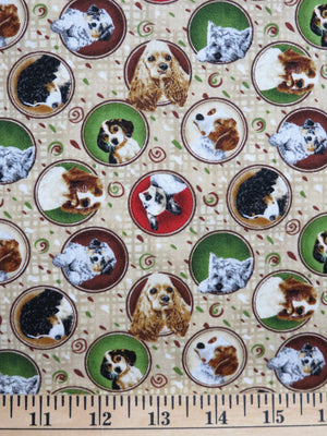 Four Paws Multi Dogs Medallions Fabri-Quilt #2929