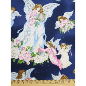 A Beautiful Place Large Angels Tossed Blue Fabri-Quilt Fabric #7538 - Quilting & Sewing Fabric