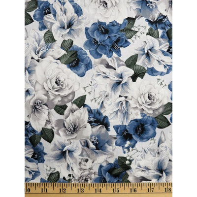 A Floral Perspective Packed Roses Dusty Blue Hoffman Fabrics #6260 - Quilting & Sewing Fabric