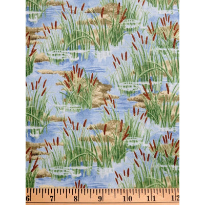 A Lazy Afternoon Cattails Nature Outdoors Wilmington Prints #2424 - Quilting & Sewing Fabric