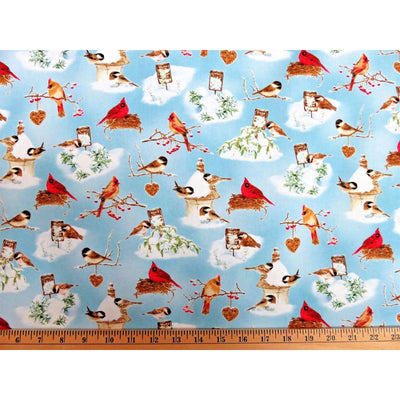 A Winter Song Cardinal Birds Holiday Scenic Henry Glass #4716 - Quilting & Sewing Fabric