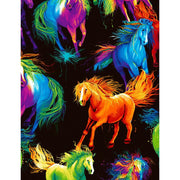 All Over Painted Horses Wildlife Black Digital Print Timeless Treasures #7934 - Quilting & Sewing Fabric