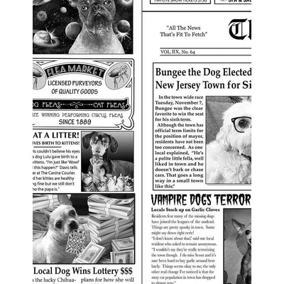Almost 1 Yard Bad to the Bone Canine Dog Newspaper Timeless Treasures #7771 - Quilting & Sewing Fabric